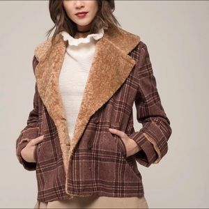 Moon River | Brown Plaid Sherpa Lined Coat Large